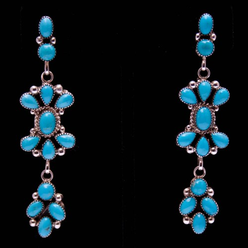 Hubert Etsitty Three-Tier Turquoise Earrings