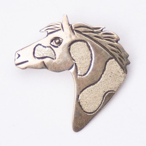 Lee Charley Left Facing Silver Horse Head Pin Brooch