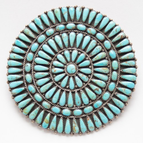 Large Vintage Native American Turquoise Needlepoint Pin Brooch Pendant