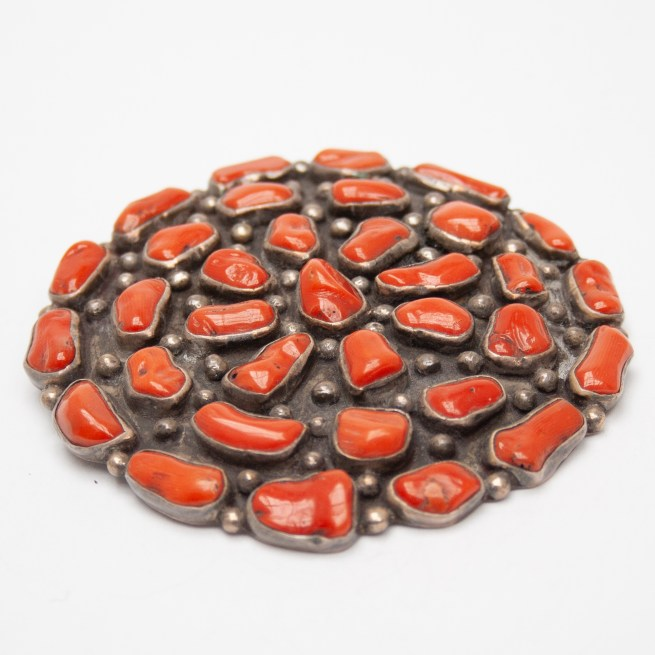 Navajo Red Coral Pin Brooch Pendant