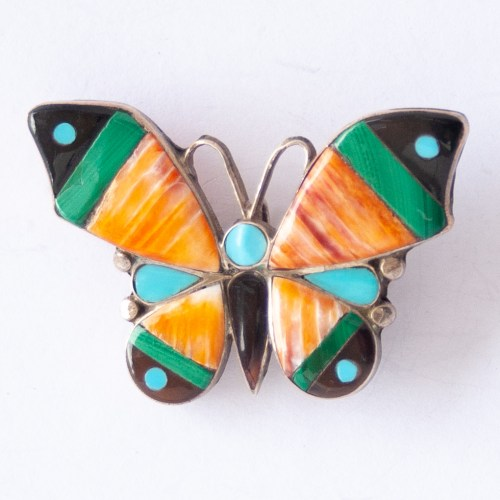 Native American Zuni Butterfly Pin Brooch Pendant