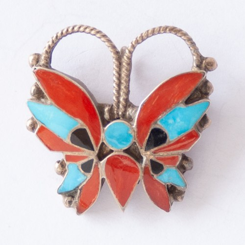 Rosita Wallace Blue Red Butterfly Pin Brooch Pendant