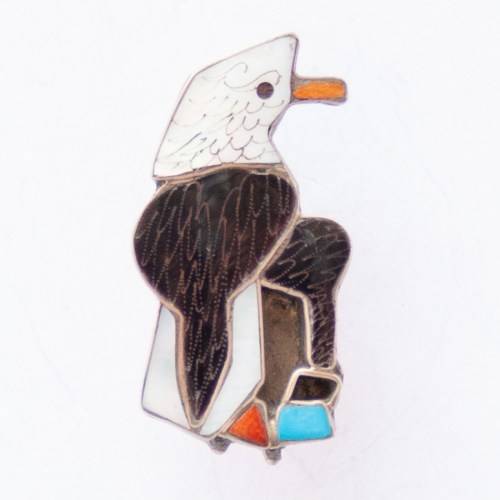 Small Zuni Inlay Eagle Pin