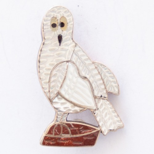 Zuni Mother-of-Pearl Owl Pin Brooch Pendant