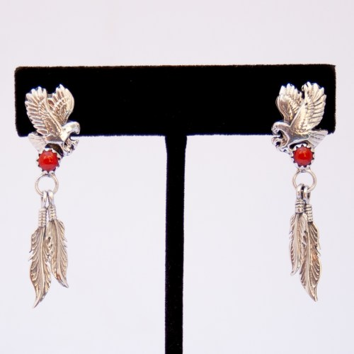 Native American Red Coral Eagle Drop Earrings