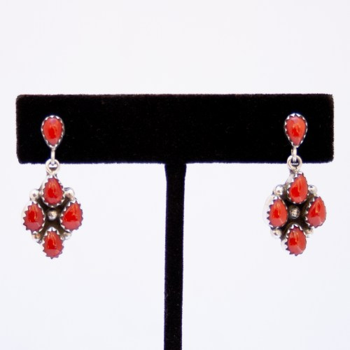 Anna Spencer Red Coral Drop Earrings