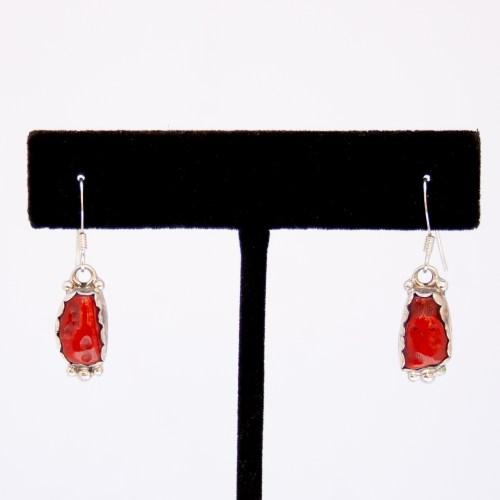 Navajo Red Coral Nugget Drop Earrings