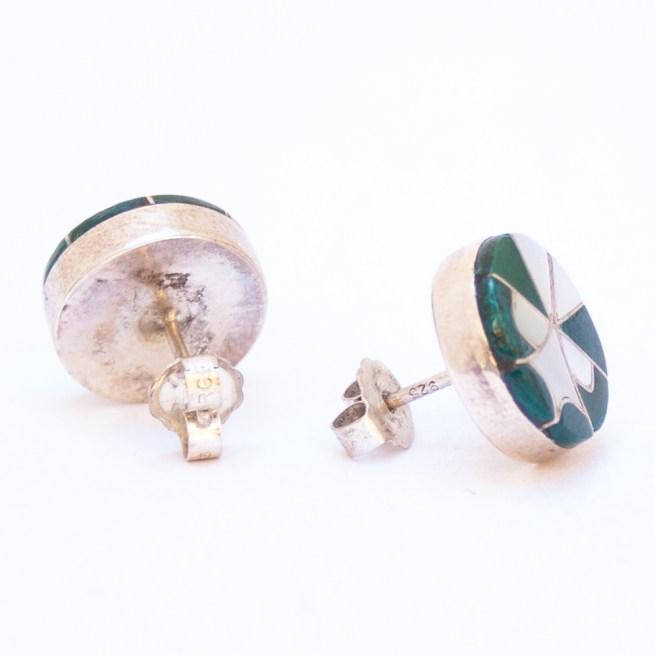 Zuni Malachite Pearl Inlay Stud Earrings