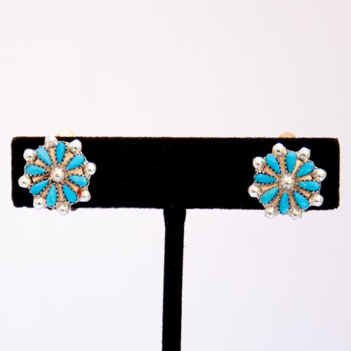 Zuni Turquoise Flower Clip On Earrings