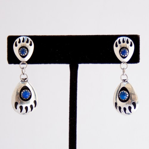 Native American Zuni Lapis Lazuli Bear Paw Earrings