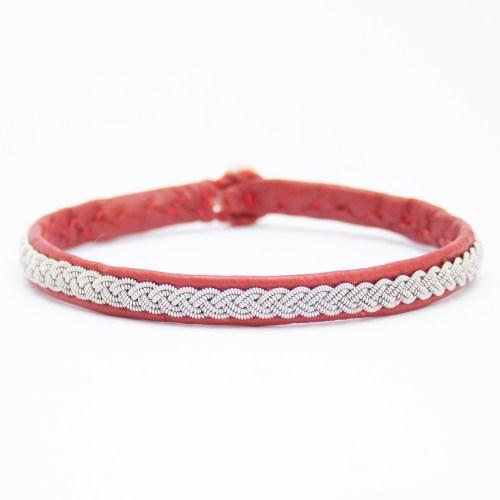 Red Leather Silver Pewter Sámi Bracelet