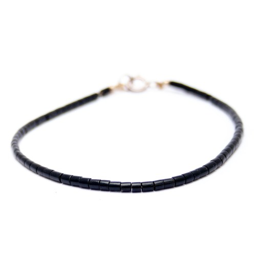 Frank Ortiz Santo Domingo Thin Black Jet Beaded Bracelet