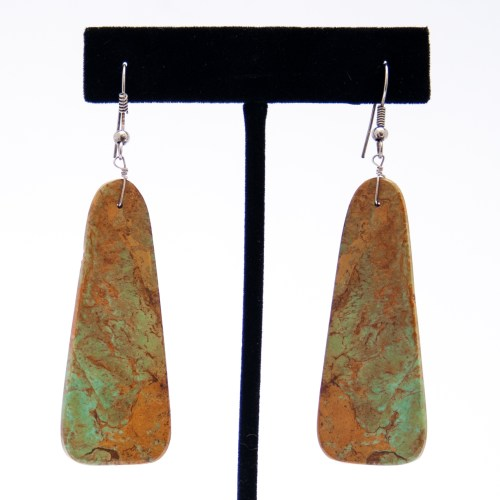 Large Green Brown Turquoise Slab Drop Earrings