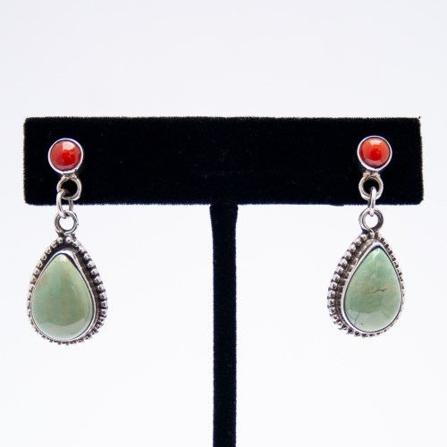 Coral Studs Green Turquoise Drop Earrings