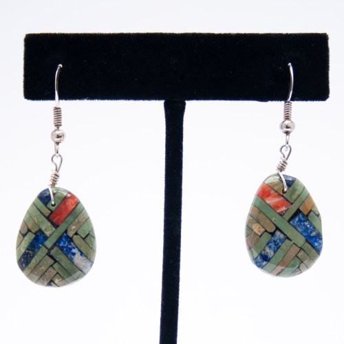 Turquoise Lapis Spondylus Inlay Shell Drop Earrings