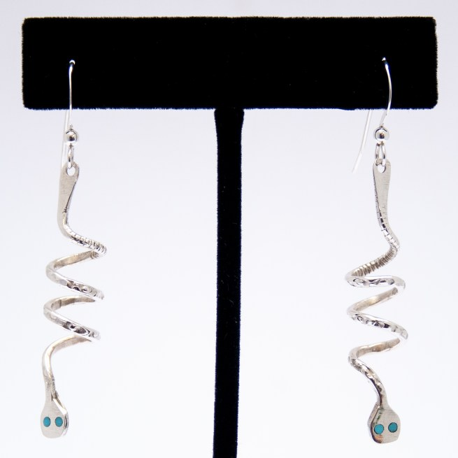 Effie Calavaza Thin Turquoise Silver Snake Earrings