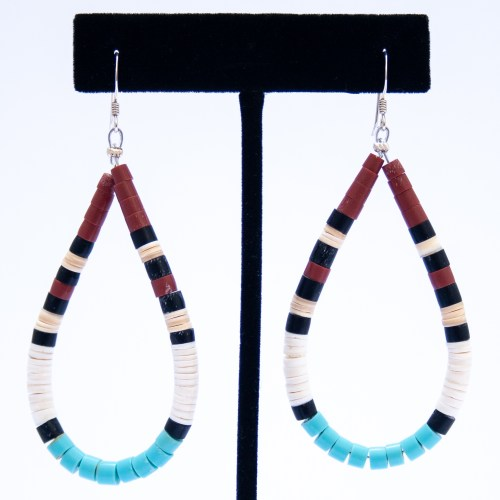 Santo Domingo Beaded Hoop Drop Earrings