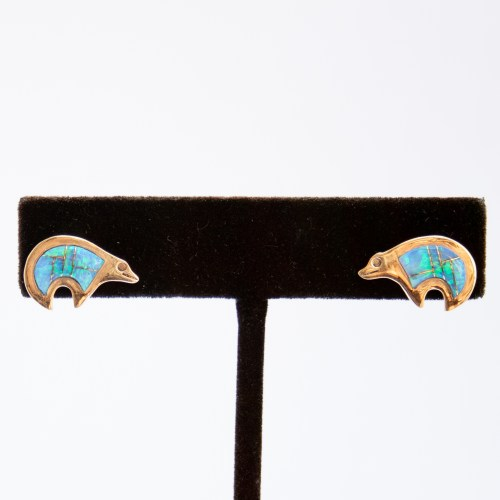14K Gold Zuni Opal Inlay Bear Stud Earrings