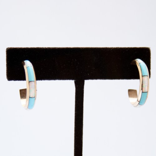 14K Gold Zuni Opal Turquoise Hoop Earrings
