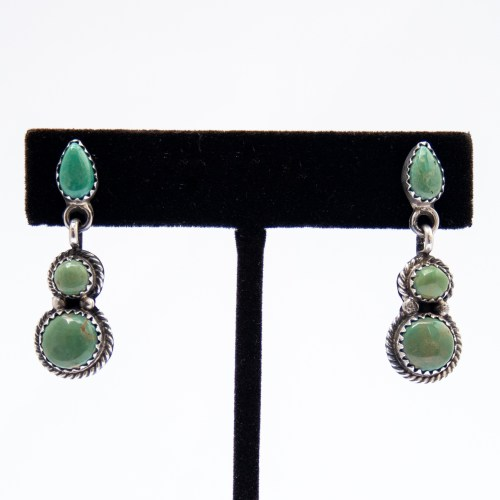 Native American Triple Green Turquoise Drop Earrings