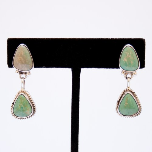 Native American Navajo Double Turquoise Drop Earrings