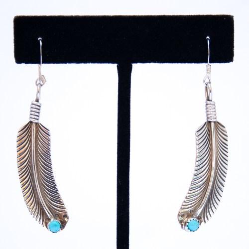 Boucles d'Oreilles Plume Argent Turquoise