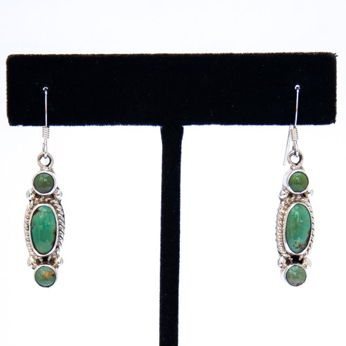 Small Triple Green Turquoise Drop Earrings