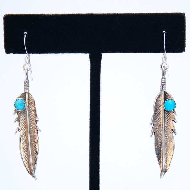 Small Feather Turquoise Earrings