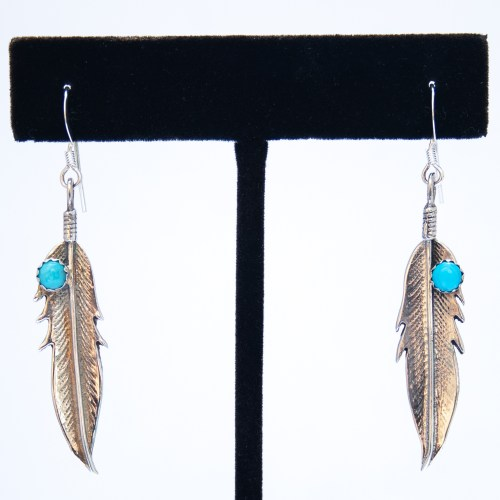 Small Turquoise Dot Silver Feather Drop Earrings