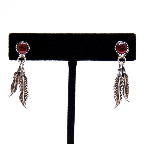Native American Silver Feathers Amber Drop Earrings
