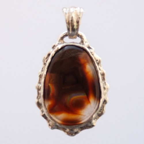 Sterling Silver Fire Agate Pendant