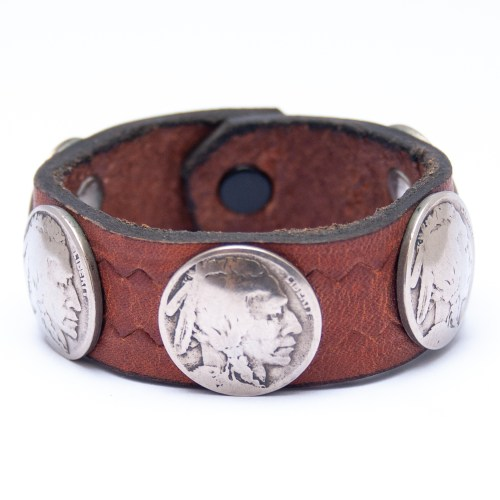 Vintage Indian Head Nickel Coin Brown Leather Bracelet