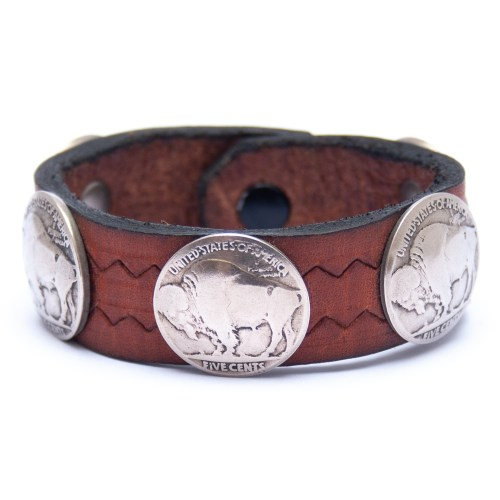 Vintage Buffalo Nickel Coin Brown Leather Bracelet