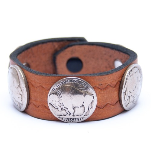 Vintage Indian Head Buffalo Nickel Coin Tan Leather Bracelet