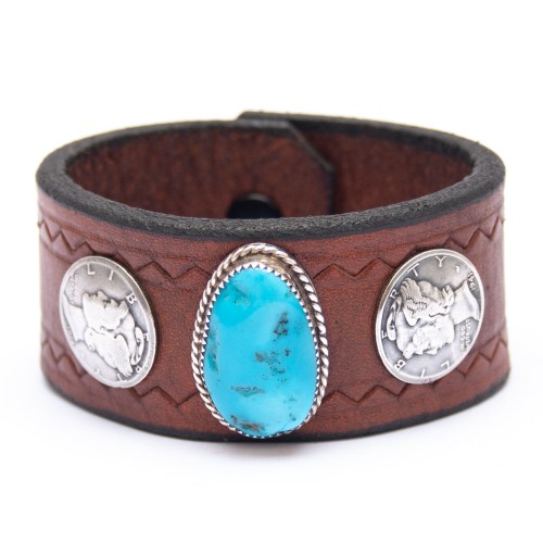 Vintage 1928 1941 Liberty Coin Turquoise Leather Bracelet