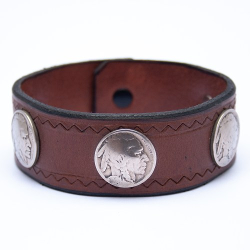 Extra Large Vintage Coin Brown Leather Bracelet