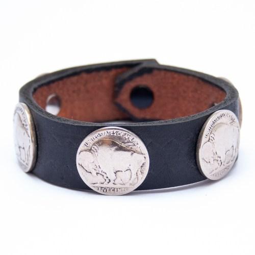 Bracelet Amérindien Cuir Noir