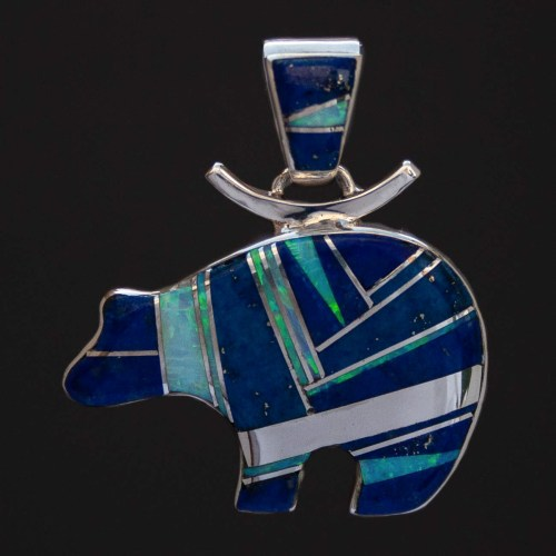 Cathy Webster Lapis Opal Bear Pendant