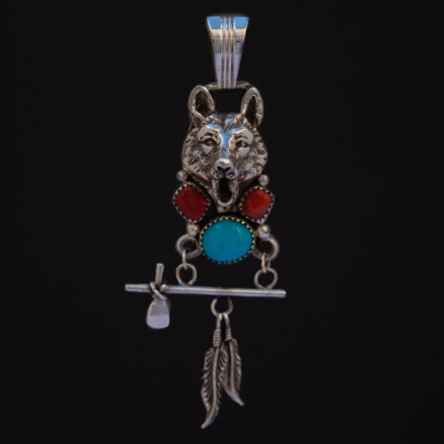 Pendentif Loup Turquoise Corail