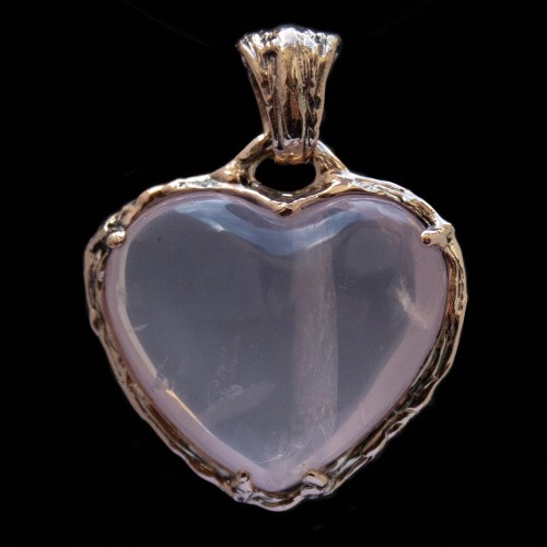 9K Gold Rose Quartz Heart Pendant