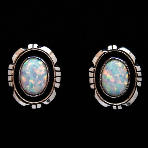 Amos Begay Navajo Opal Stud Earrings