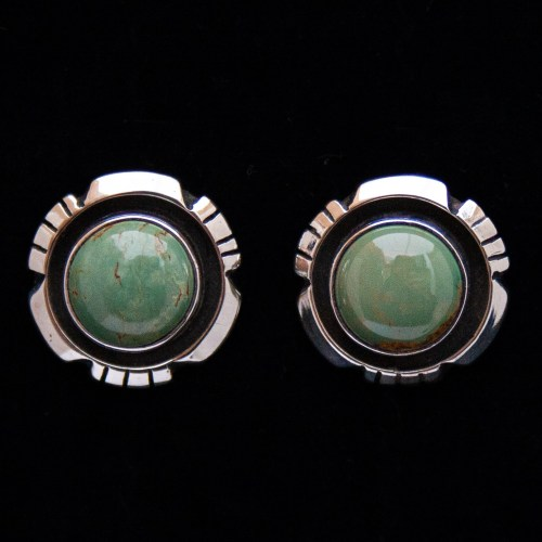 Amos Begay Round Green Turquoise Stud Earrings