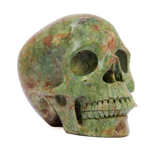 Green Chrysoprase Skull Carving