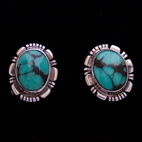 Johnnie Frank Blue Black Turquoise Studs