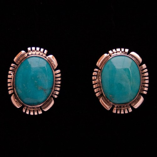 Johnnie Frank Turquoise Copper Stud Earrings