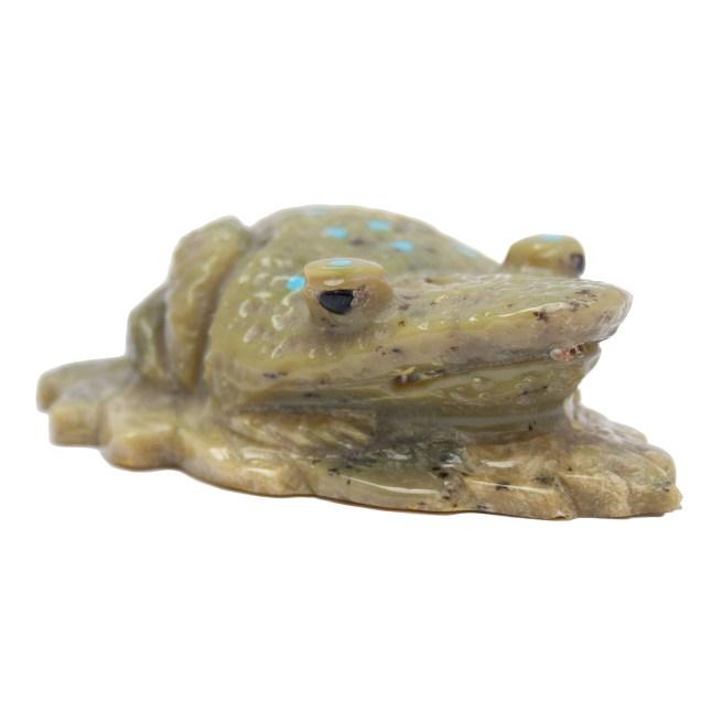 Marlin Pinto Green Zuni Frog Carving