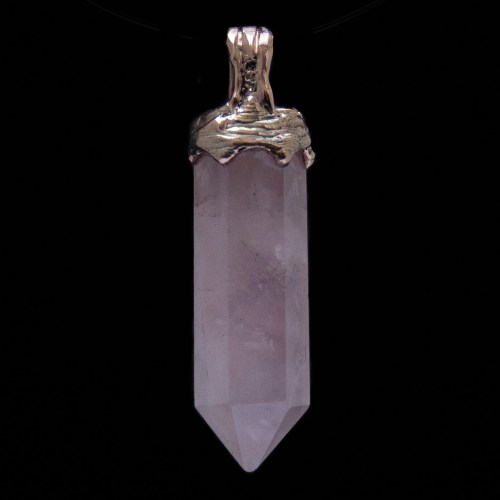 9K Gold Rose Quartz Point Necklace