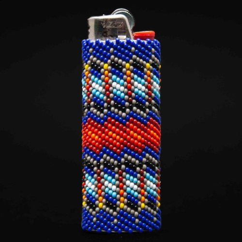 Large Blue Red Beaded Lighter Case