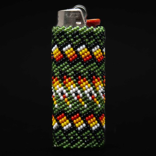 Large Green Zuni Beaded Lighter Case