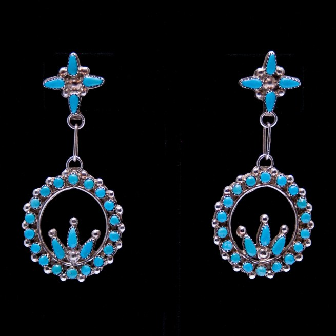 Two-Tier Petit-Point Turquoise Earrings